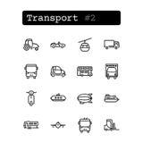 Ajuste a linha ícones Vetor transporte Foto de Stock Royalty Free
