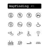 Ajuste a linha ícones Vetor Wayfinding Imagens de Stock