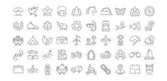 Ajuste a linha lisa ecoturismo do vetor dos ícones ilustração do vetor