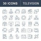 Ajuste a linha lisa televisão do vetor dos ícones Imagem de Stock Royalty Free
