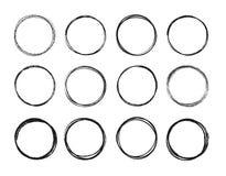 Ajuste a linha tirada mão grupo do círculo do esboço Os círculos redondos da garatuja circular do garrancho para a marca da nota  ilustração stock