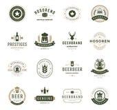 Ajuste logotipos da cerveja, crachás e etiquete o estilo do vintage Foto de Stock Royalty Free