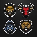 Ajuste logotipos Leão, touro, gorila, urso Fotografia de Stock