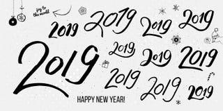 Ajuste mão tipográfica preta dos números tirados do vintage 2019 ilustração royalty free