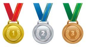 Ajuste a medalha do ouro das concessões dos esportes do vetor, a de prata e a de bronze Imagem de Stock