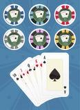 Ajuste microplaquetas de póquer Fotografia de Stock