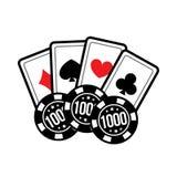 Ajuste microplaquetas do cartão e de pôquer do casino para jogos do casino Ilustração do vetor Foto de Stock Royalty Free