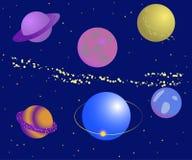 Ajuste no planeta Ilustração do vetor com os planetas no fundo azul ilustração royalty free