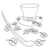 Ajuste no tema de Saint Patric Day O chapéu, o trevo, o bastão ou o trole do gnomo Estilo cômico de imitação Livro de coloração ilustração do vetor