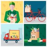 Ajuste no tema do alimento da entrega Correio, bicicleta, pagamento para uma compra Coleção colorida das ilustrações do vetor no  Fotografia de Stock