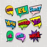 Ajuste a nuvem colorida dos desenhos animados texto cômico Imagens de Stock Royalty Free