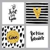 Ajuste o amor do cartaz do cartão da caligrafia Imagem de Stock