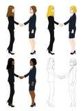 Ajuste o aperto de mão bonito de duas mulheres de negócio Ilustração completa do vetor do corpo Imagem de Stock