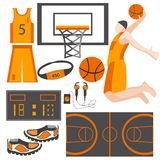 Ajuste o atleta dos bens dos esportes dos ícones, bola, sapatilhas, forma Fotos de Stock Royalty Free
