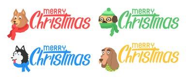 Ajuste o cão dos desenhos animados no lenço Fotografia de Stock