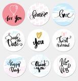 Ajuste o casamento e o amor das etiquetas ilustração royalty free