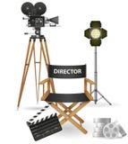 Ajuste o cinema e o filme da cinematografia dos ícones Fotos de Stock Royalty Free