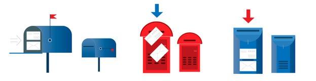 Ajuste o conceito do e-mail Seis caixas postais vermelhas e cor azul, vazias e w ilustração stock