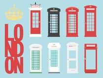 Ajuste o conceito público da palavra do vetor da chamada de Londres da caixa de telefones de Reino Unido Fotos de Stock Royalty Free
