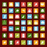 Ajuste o ícone de roupa e de acessórios de forma dos homens e das mulheres Foto de Stock Royalty Free