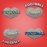 Ajuste o coração do bal do futebol Imagens de Stock Royalty Free
