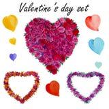 Ajuste o dia de Valentim Coração watercolor Fotos de Stock
