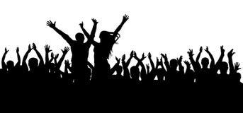 Ajuste o disco, silhueta de dança da multidão, pessoa alegre ilustração royalty free
