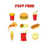 Ajuste o fast food dos ícones Desenho da mão Foto de Stock Royalty Free