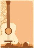 Ajuste o festival de música do cartaz da guitarra no papel do ola Imagens de Stock
