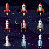 Ajuste o foguete de espaço, nave espacial, fundo do espaço, estilo dos desenhos animados, ilustração do vetor ilustração stock