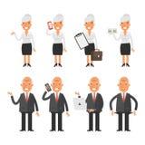 Ajuste o homem de negócios velho da mulher de negócio dos caráteres Fotos de Stock Royalty Free