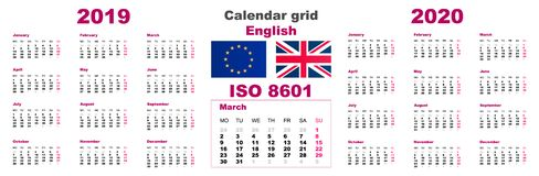 Ajuste o inglês do calendário de parede da grade para 2019 2020 ISO 8601 ilustração stock