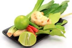 Ajuste o ingrediente vegetal para Tom yum fotografia de stock