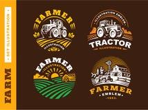 Ajuste o logotipo da exploração agrícola da ilustração no fundo escuro ilustração royalty free