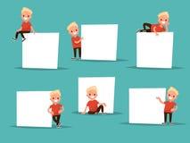 Ajuste o menino em várias poses ao lado de um cartaz O menino diz, mostra Fotos de Stock