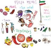 Ajuste o menu para a pizza ilustração royalty free