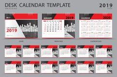 Ajuste o molde 2019 do calendário de mesa Grupo de 12 meses planner Começos da semana em domingo Projeto dos artigos de papelaria ilustração do vetor