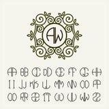 Ajuste o molde para criar monogramas de duas letras Imagem de Stock