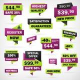 Ajuste o negócio etiquetas de preço verdes e violetas Fotografia de Stock Royalty Free