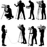 Ajuste o operador cinematográfico com câmara de vídeo Silhuetas no fundo branco ilustração stock