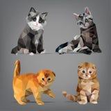 Ajuste o origâmi-estilo dos gatinhos Ilustração do vetor Fotografia de Stock