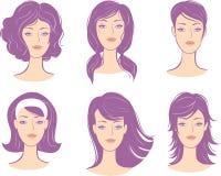 Ajuste o penteado da face da mulher ilustração stock