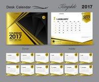 Ajuste o projeto 2017, calendário do molde do calendário de mesa do ouro de mesa da tampa Foto de Stock Royalty Free