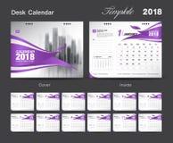 Ajuste o projeto 2018, tampa do molde do calendário de mesa vermelha ilustração do vetor