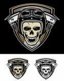 Ajuste o protetor da máquina de Logo Bikers Skull Imagem de Stock Royalty Free