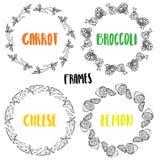 Ajuste o queijo do limão dos brócolis da cenoura dos quadros ilustração do vetor