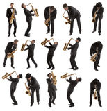Ajuste o saxofonista Fotos de Stock Royalty Free