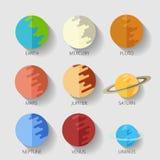 Ajuste o sistema solar dos planetas cópia lisa da quadriculação do ícone do estilo dos desenhos animados Imagens de Stock Royalty Free
