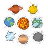 Ajuste o sistema solar dos planetas Estrela engraçada do planeta dos desenhos animados: Enterre Fotografia de Stock