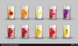 Ajuste o suco em uns copos de vidro transparentes isolado ilustração do vetor